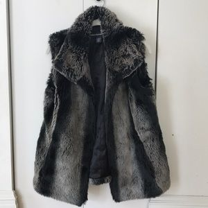Kristen Blake Faux Fur Grayscale Vest